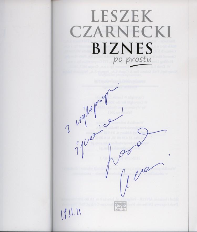 Leszek Czarnecki Biznes po prostu - dedykacja
