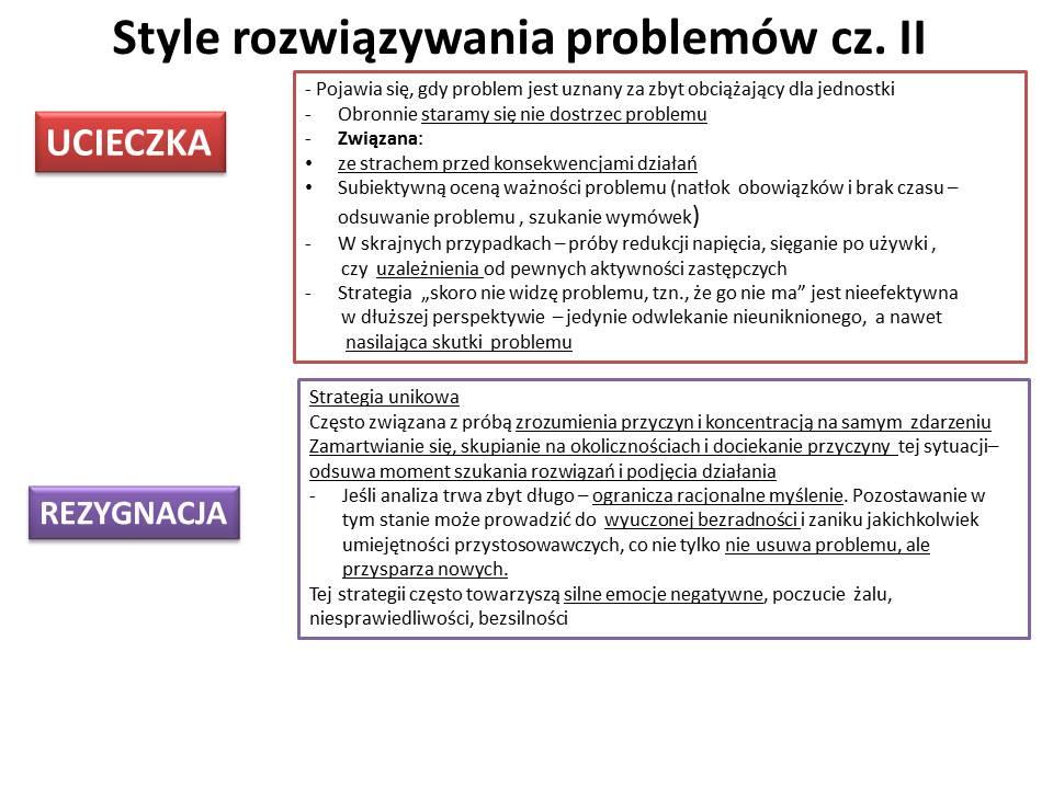 Style rozwiązywania problemów II